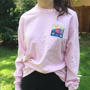 Tops - Pink cub art long sleeve tee